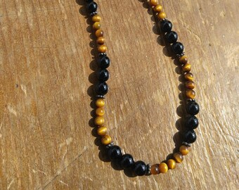 Black Onyx and Tiger Eye Necklace with Sterling Silver Bali Beads - Sale