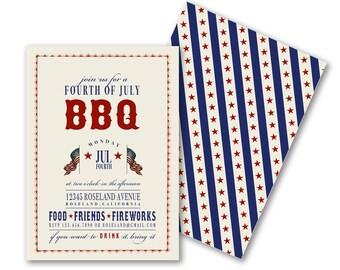 DIGITAL, Printable, DIY BBQ Invitations, Patriotic Vintage July 4th, Memorial Day, Welcome Home Troops