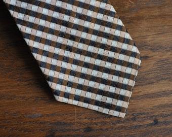 MCM mid century modern skinny tie in black brown and beige 1960s 60s
