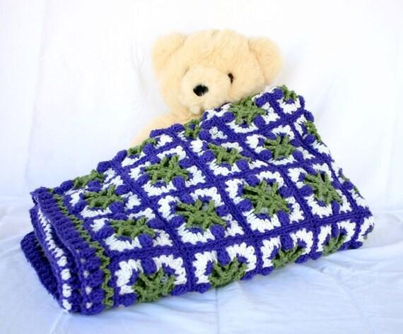 Crochet Afghan Purple Green White Tulips Granny Squares Throw