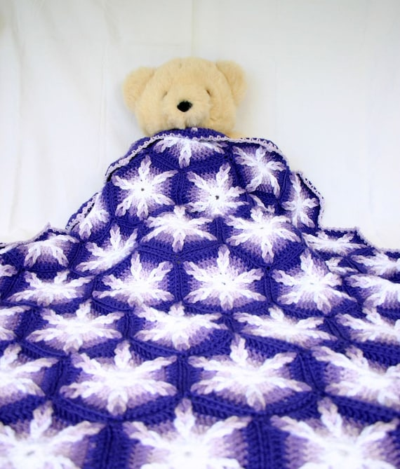 Crochet throw afghan hexagons purple white lavender couch blanket six sided home decor lap cover pretty feminine bedding washable warm