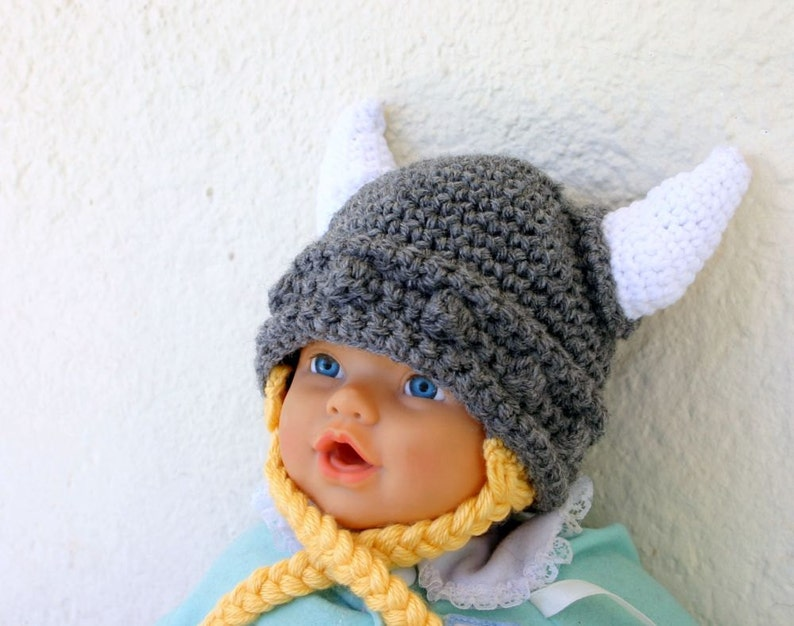 e237b103f Viking baby hat with ties 0-3 month gray white yellow beanie photography  prop cap horns braided Norse costume infant grey hair soft helmet