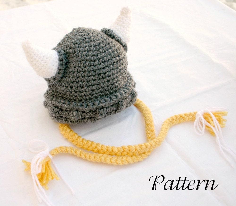 44bec43aab92c Viking baby hat PDF crochet PATTERN 6-36 month gray white