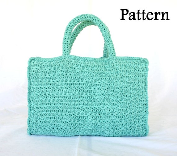 Book Tote Pdf Crochet Pattern Bag Handles Star Stitch Carrying Etsy