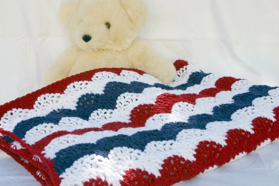 Patriotic Afghan Red White Blue Crocheted Throw Summer Lap Etsy