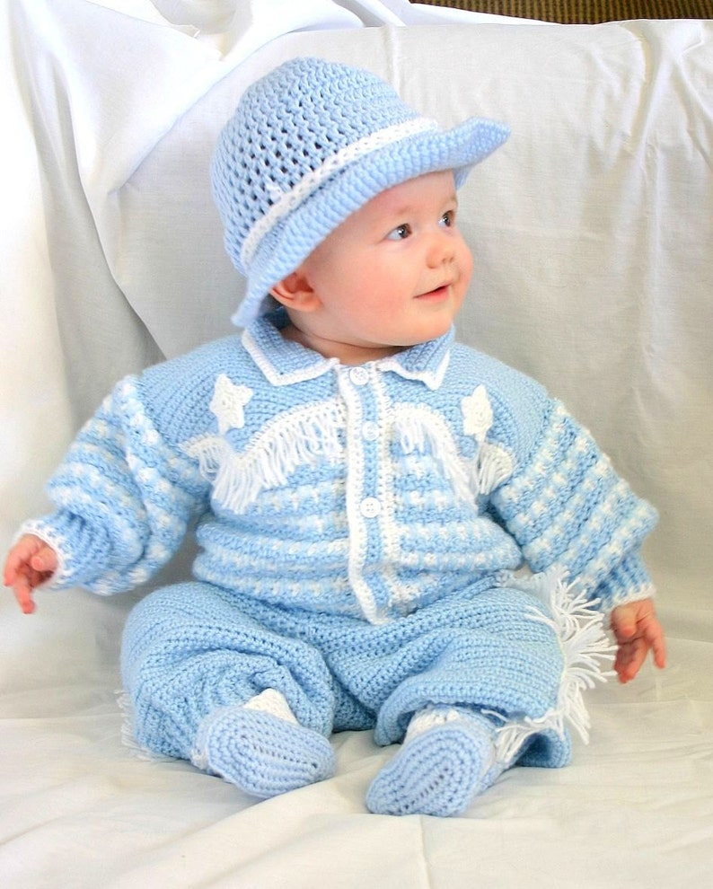 d51ce2079 Baby cowboy layette 6 month crochet photography prop blue