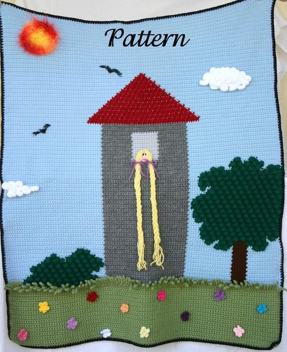 Rapunzel Afghan PDF Crochet PATTERN Kid Throw Blanket Toddler Etsy Simple Rapunzel Throw Blanket
