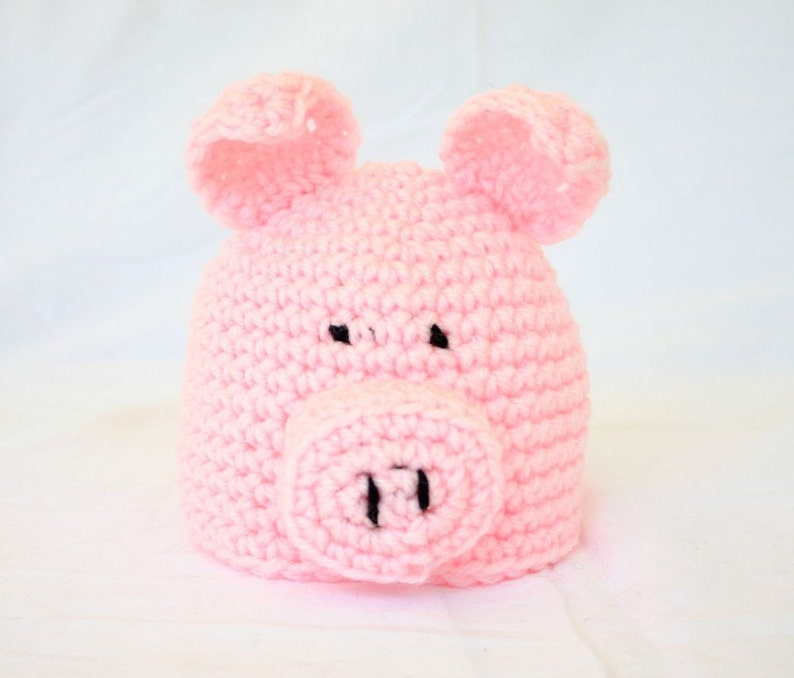 Baby Pig Hat PDF Crochet PATTERN 0-6 Months Farm Animal