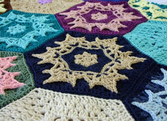 Crochet scrap yarn afghan snowflakes couch throw blanket blue white brown  pink green yellow purple hexagons large home decor bedding