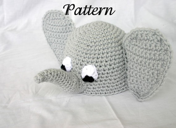 Baby elephant hat PDF Crochet PATTERN 0-6 months beanie infant  57e2f02d161