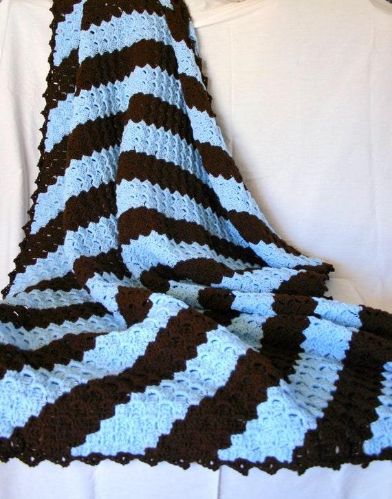 Crochet Afghan Blue Brown Diagonal Striped Lap Blanket Throw Etsy