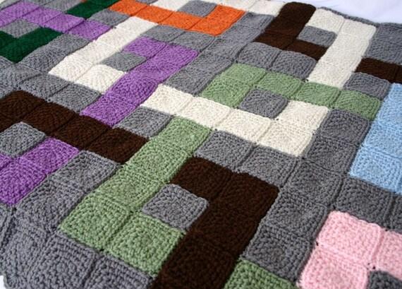 Crochet Afghan Interlocking Squares Throw Blanket Geometric Etsy
