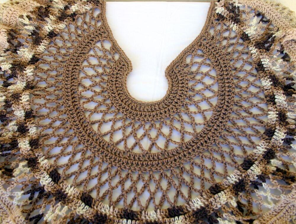 Crochet chal marrón volante de encaje blanco poncho abrigo