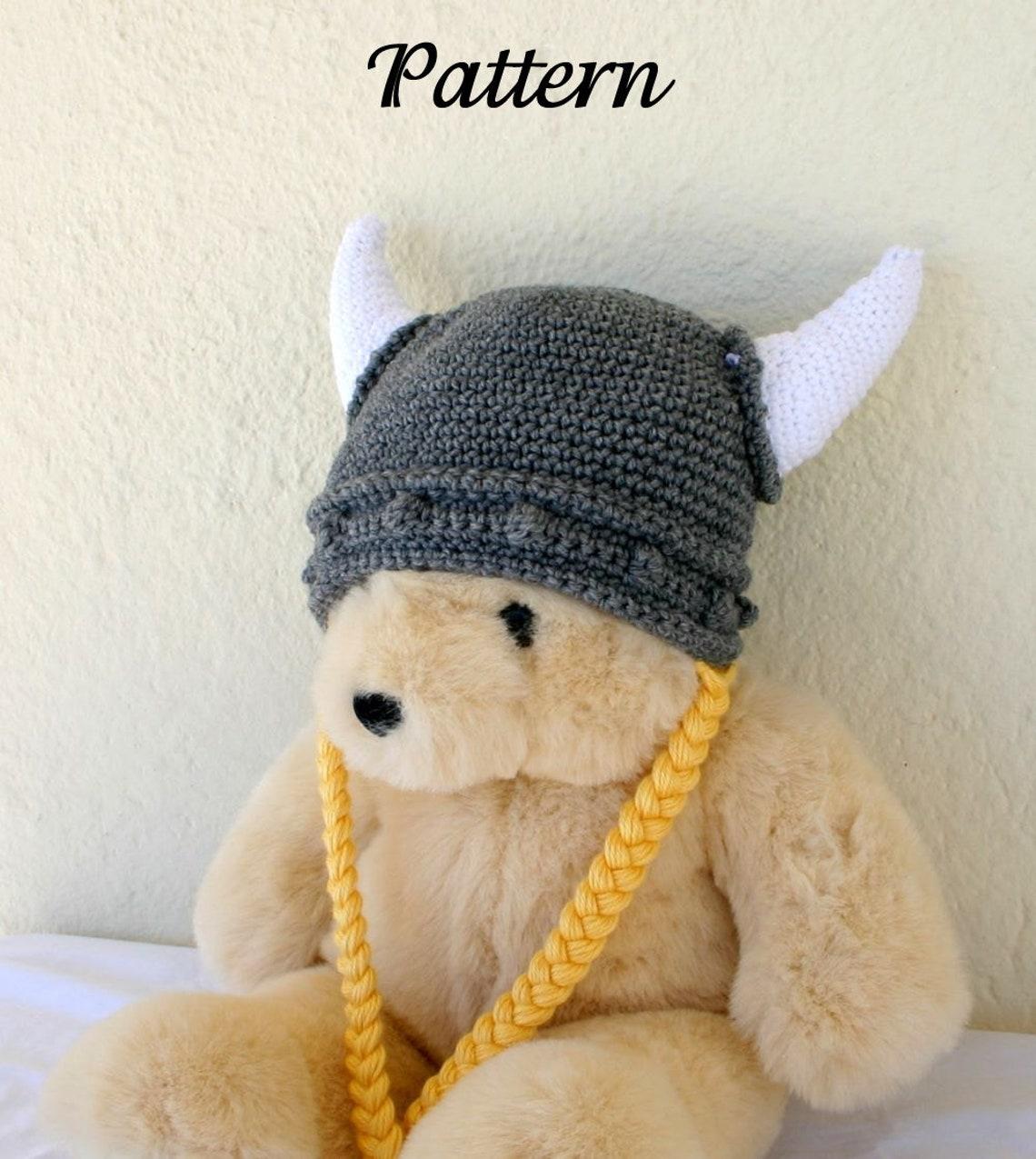 Viking Hat Pdf Crochet Pattern Child Teen Adult Gray White Etsy