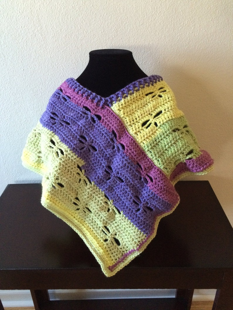 Childs size dragonfly crocheted poncho