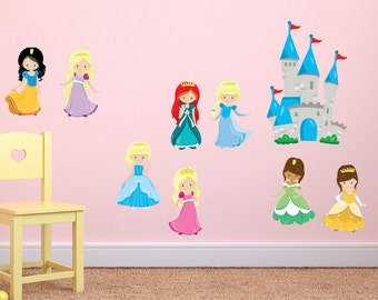 Princess Wall Decal with Castle, Reusable Princess Wall Decals, Princess Fabric Wall Decals, Princess Decals, Girls Room Wall Decals