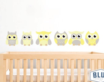 Owl Wall Decals, Repositionable and Reusable, Yellow, Grey, Owl Decals, Owl Wall Decals, Nursery Wall Decals