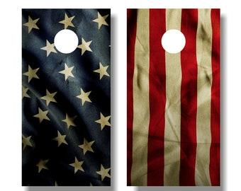 USA Flag Cornhole Wrap, Rustic Flag Cornhole Wrap Set, American Flag Cornhole Vinyl Wrap