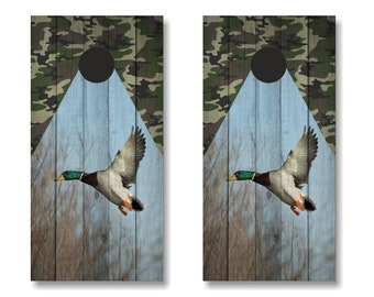 Duck Hunting Cornhole Wrap, Duck Cornhole Wrap Set, Duck Hunting Cornhole Set, Camo Cornhole Wrap