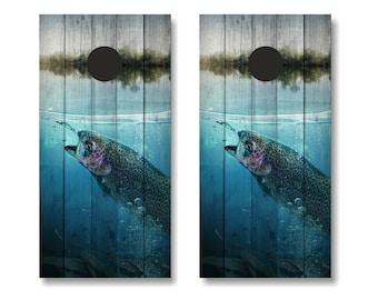 Trout Fishing Cornhole Wrap, Fishing Cornhole Wrap Set, Trout Cornhole Vinyl Wrap, Fishing Vinyl Wrap