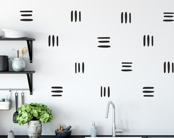 Boho Chic Line Wall Decals, Modern Wallpaper Pattern, Brush Stroke Wall Decals, Trendy chic vinyl wall decals