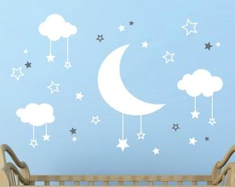 Moon and Stars Wall Decal, Nursery Decal, Moon wall decal, Starry Sky Decal, Nursery Decoration, Cute Wall Decal