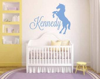 Silhouette Horse With Child S Name Vinyl Wall Decal Personalized