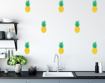 Removable Pineapple Fabric Wall Decals, Pineapple Wall Decor, Tropical Room Wall Art, Pineapple Fruit Wall Decals