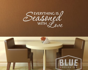 Wall Decals - Kitchen - Seasoned with love Wall Decals - Kitchen Wall Decal - Kitchen Vinyl Wall Decal - Season Decal