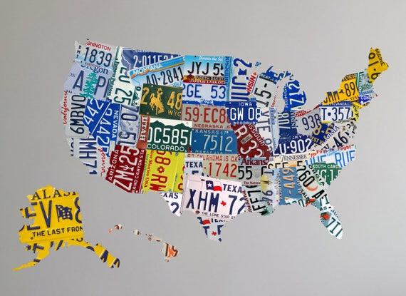 Map Wall Decal Us License Plate Map Us Map Wall Decal Etsy