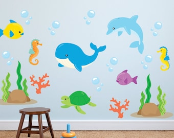 Fish Wall Decals - Ocean Wall Decals - Ocean Fabric Wall Decals - Sea Life Wall Decals - Fish Decals - Ocean Life Wall Decals