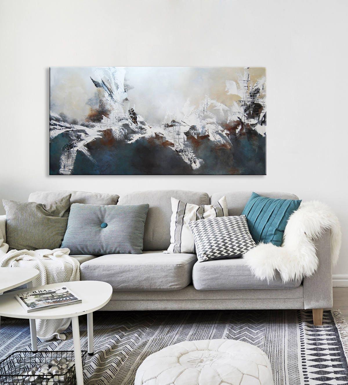 Grau blau abstrakt original-Gemälde blaue abstrakte Malerei