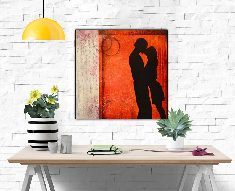 Feng Shui Print, law of attraction, marriage gift , new age art, Lovers  print, Kiss print, red to Attract Love, Motivational Art