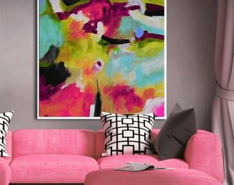 Kleurrijke Witte Woonkamer : Roze lila abstract print roze blauw wit giclee vierkante