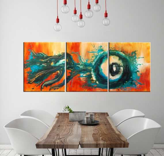 Abstract Painting Giclee Print Ready To Hang Three Panels Etsy
