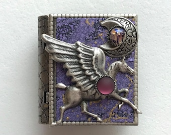 Miniature Book Pin - with a magical story inside and a silver pegasus and new moon cover design