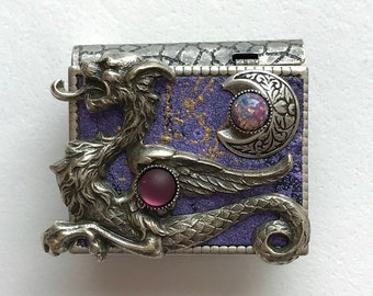 Miniature Book Pin - with a Magical Story inside and an antique silver Dragon and New Moon cover design
