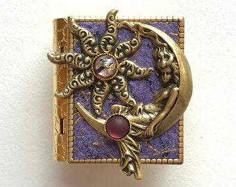 Miniature Book Pin - with a protection spell  inside and an antique gold Moon Goddess and Star cover design