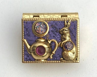 Miniature Book Brooch - with a Short Story inside and a Rabbit and Teapot cover design
