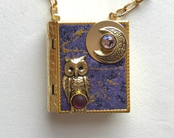 Miniature Book Necklace - with a Protection Spell inside and an antique gold Owl and New Moon cover design