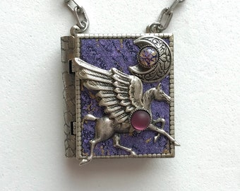 Miniature Book Necklace - with a magical story inside and a silver pegasus and new moon cover design