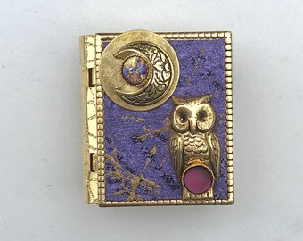 Miniature Book Brooch - with a Short Story inside and a gold owl and new moon cover design