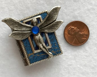 Book pin, blue fairy pin, faerie pin, art nouveau fairy, fairy gift, literary gift, antique silver, book club gift, miniature book, magic