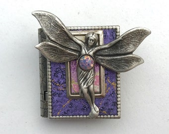 Miniature Book brooch - with a magical story inside and a silver fairy cover design