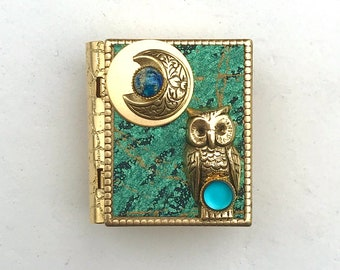 Miniature Book Pin - with a Short Story inside and an antique gold Owl and Crescent Moon cover design