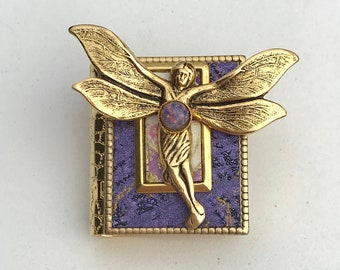 Miniature Book Pin - with a Magical Story inside and a gold Art Nouveau Fairy cover design