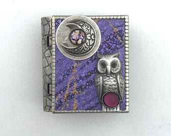 Miniature Book Brooch - with a protection spell inside and a silver owl and new moon cover design