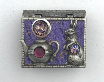 Miniature Book Brooch - with a short story inside and rabbit and teapot cover design