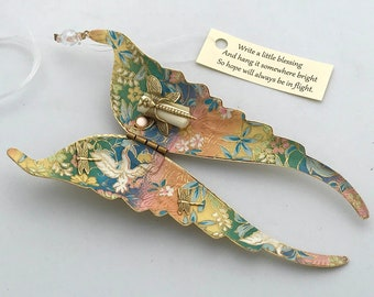 Folding Wings Hanging Ornament - Japanese chiyogami paper lined wings that hold a blessing or prayer