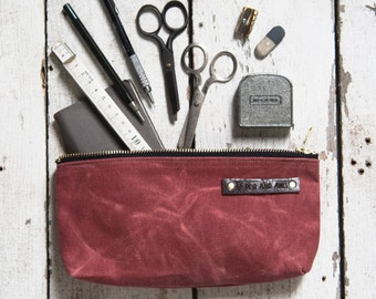 Make Up Case, Medium Waxed Canvas Pouch in Radish, Pencil Case, Monogram Bag, Zipper Pouch, Canvas Pouch, Bags and Purses, Men's Gift, Pouch
